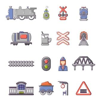 Trem, ferrovia, ícones, jogo