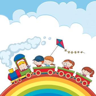 Trem, indo, sobre, um, arco íris