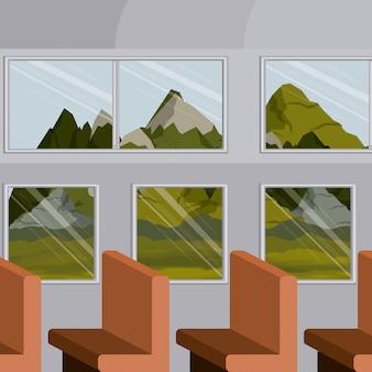 Trem interior de fundo colorido com um passageiro fileira cadeiras e cenário paisagem fora