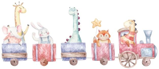 Trem, locomotiva a vapor com animais e ilustração em aquarela infantil de dinossauros em um fundo branco