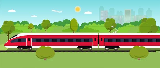 Trem na ferrovia com a floresta e a cidade. fundo da paisagem. ilustração do estilo plano em vetor