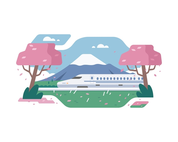Trem shinkansen no japão com o fundo da montanha fuji