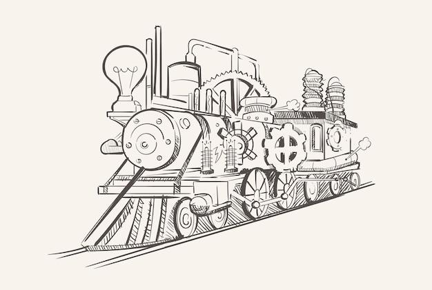 Trem vintage steampunk com engrenagens, era industrial