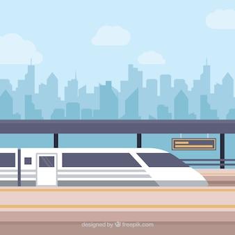 Tren e fundo do horizonte da cidade
