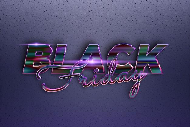Trendy black friday efeito de texto metal temático