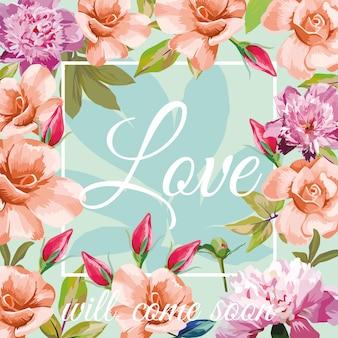 Trendy slogan amor virá em breve no quadro no fundo de rosas de hortelã aqua