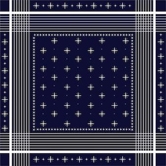 Trendy vector ornamento mínimo bandana print, seda pescoço lenço ou lenço quadrado padrão de design de estilo para a moda, tecido e todas as impressões linha branca