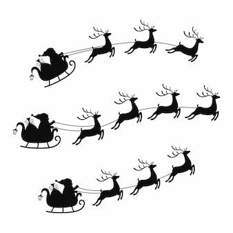 Trenó de coleção com saco de presentes e renas, trenó do papai noel. elemento de natal com giros veados.