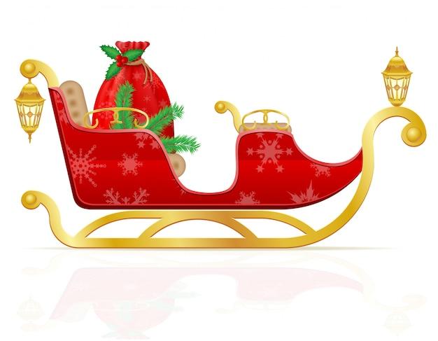 Trenó de natal vermelho de papai noel com ilustração vetorial de presentes