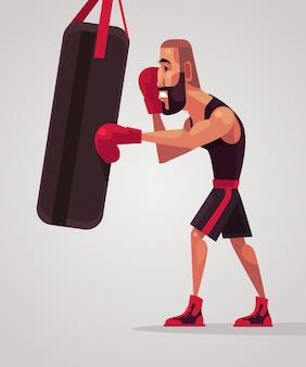 Trens de personagem de boxeador de homem.