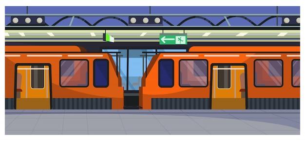 Trens na ilustração da estação ferroviária