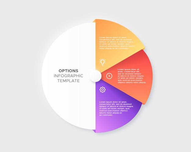 Três 3 opções de etapas círculo cronograma negócios infográfico modelo de design moderno
