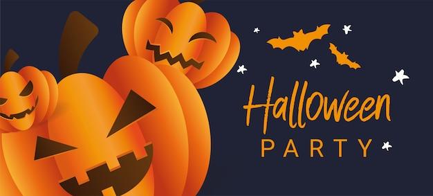 Três abóboras assustadoras de halloween com rostos em um fundo azul escuro com morcegos.