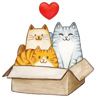 Três adoráveis gatinhos aquarela em uma caixa de papel