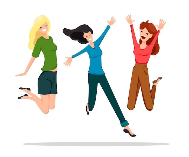 Três, alegre, amigos, pular, alto