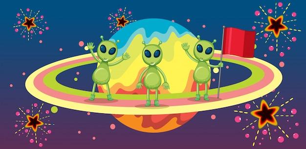 Três alienígenas no novo planeta