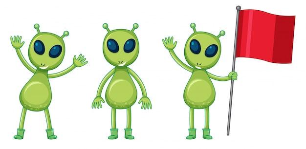 Três alienígenas verdes com bandeira vermelha