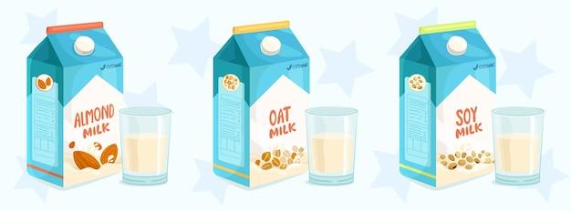 Três alternativas comuns de leite