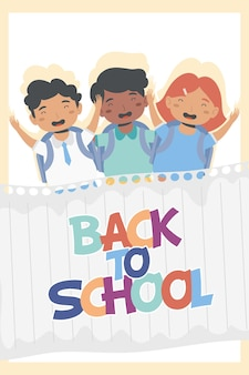Três alunos de volta aos personagens da escola