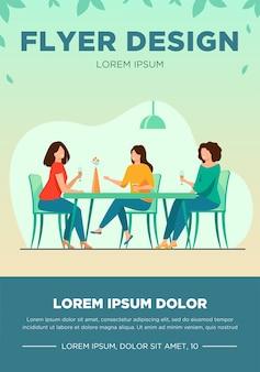 Três amigas sentadas no café na hora do almoço e falando de ilustração vetorial plana. mulheres saindo juntas. conceito de amizade e comunicação.