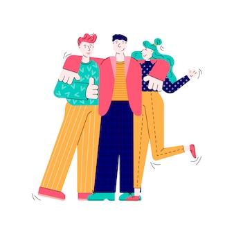 Três amigos abraçando, pessoas dos desenhos animados juntos compartilhando abraço amigo.