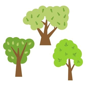 Três árvores verdes com folhas. ilustração vetorial