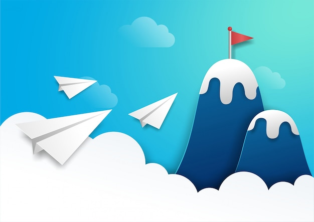 Três aviões de papel voando para bandeira vermelha no topo da montanha