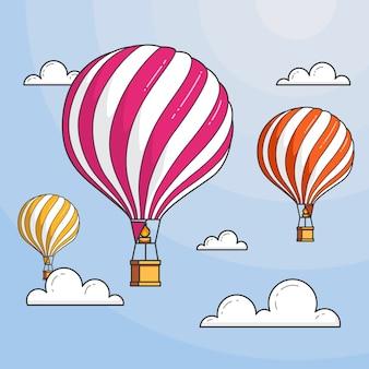 Três balões de ar quente no céu azul com nuvens. ilustração em vetor arte linha plana skyline abstrata. conceito de agência de viagens, motivação, desenvolvimento de negócios, cartão, banner, panfleto.