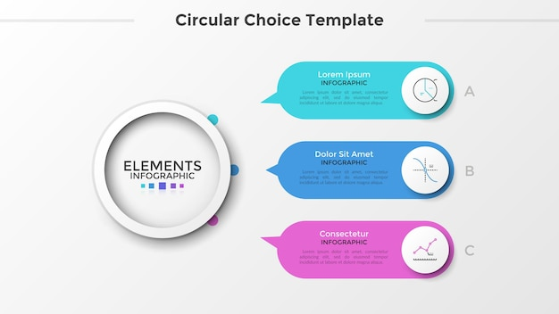 Três balões de fala coloridos com ponteiros apontando para o elemento branco de papel redondo principal. conceito de 3 recursos de projeto de negócios de inicialização. modelo de design criativo infográfico. ilustração vetorial.
