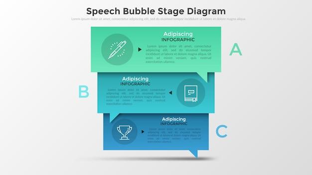 Três balões de fala retangulares sobrepostos coloridos com letras, pictogramas de linha fina e lugar para texto dentro. conceito de 3 fases de negociações. layout do projeto infográfico.