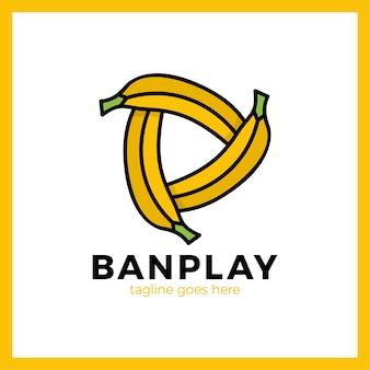 Três bananas play media logotype.