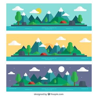Três bandeiras de belas paisagens em design plano