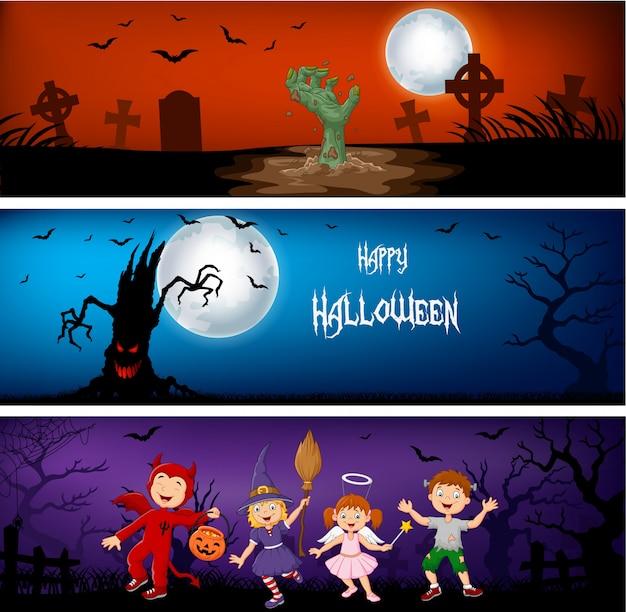 Três bandeiras de halloween