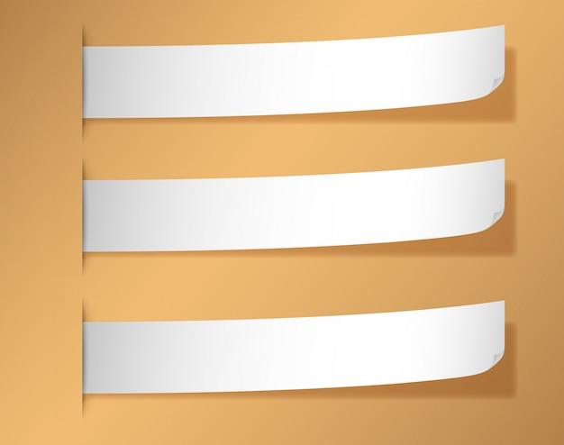 Três banner em branco no fundo marrom