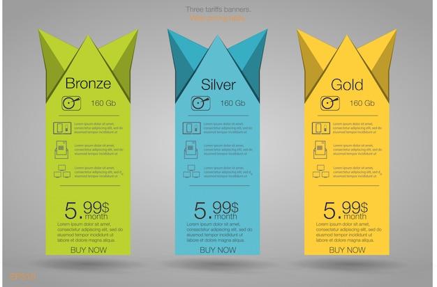 Três banner para as tarifas e listas de preços. elementos da web. planeje hospedagem. para aplicativo da web. planeje o site no apartamento.