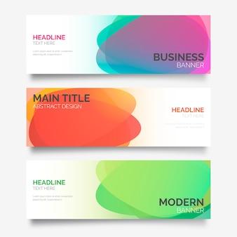 Três banners com formas abstratas coloridas