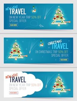 Três banners de férias de férias de ano novo e natal.