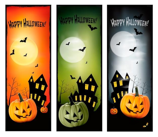 Três banners de halloween
