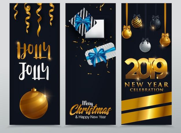 Três banners de natal com presentes