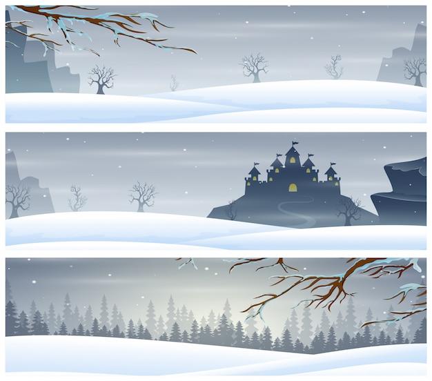 Três banners de paisagem com férias de inverno