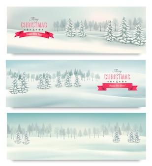 Três banners de paisagem de natal.