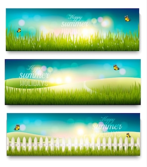 Três banners de paisagem lindo verão prado com borboletas. vetor.