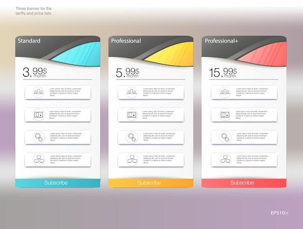 Três banners de tarifas. tabela de preços da web. para aplicativo da web. lista de preços.