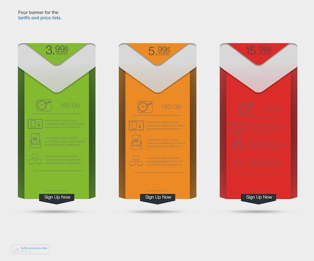 Três banners de tarifas. tabela de preços da web.