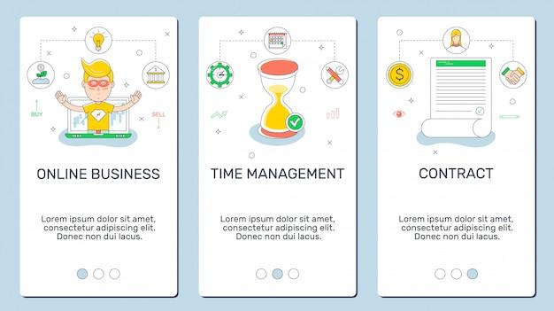 Três banners de telefone, negócios on-line, contrato, gestão