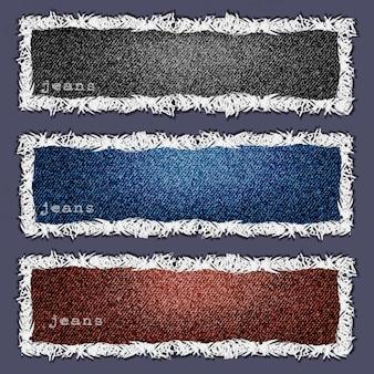 Três banners de textura de jeans