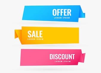 Três banners de venda com cores diferentes