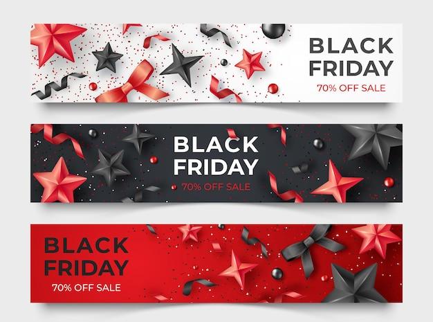 Três banners horizontais de sexta-feira negra com fitas realistas, estrelas e bolas coloridas.