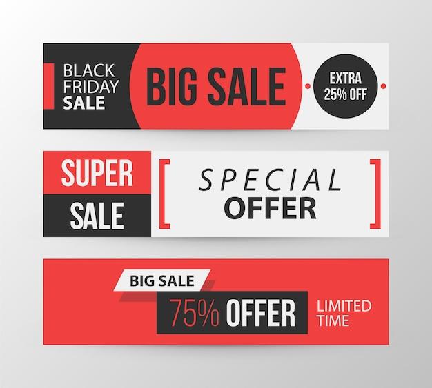 Três banners horizontais de sexta feira negra em estilo retro preto e vermelho em fundo cinza