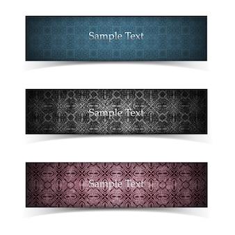 Três banners horizontais isolados de grunge em estilo vintage